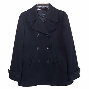 LAND'S END Wool Nylon Double Breasted Coat